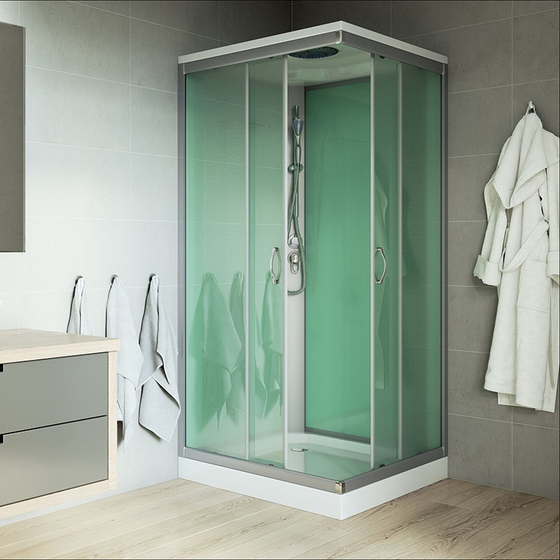 SKY Sprchový box, čtvercový, 90x90x204 cm, profily satin, sklo Point, bez stříšky (CK34122B)