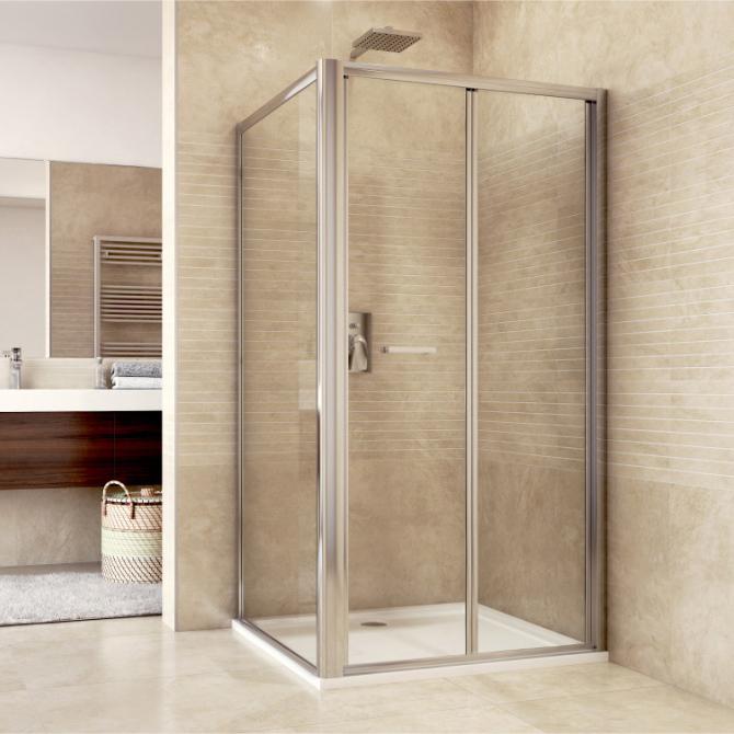 Mereo Sprchový kout, Mistica Exclusive, obdélník, 100x80 cm, chrom. profily, sklo 6 mm, zalamovací dveře Výplň: čiré