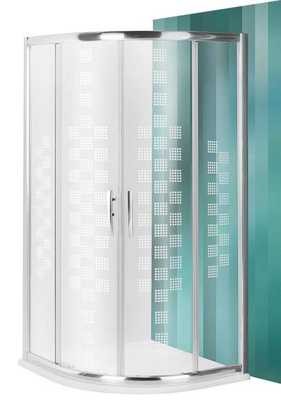 Roltechnik PXR2N DESIGN PLUS Čtvrtkruhový sprchový kout s dvoudílnými posuvnými dveřmi