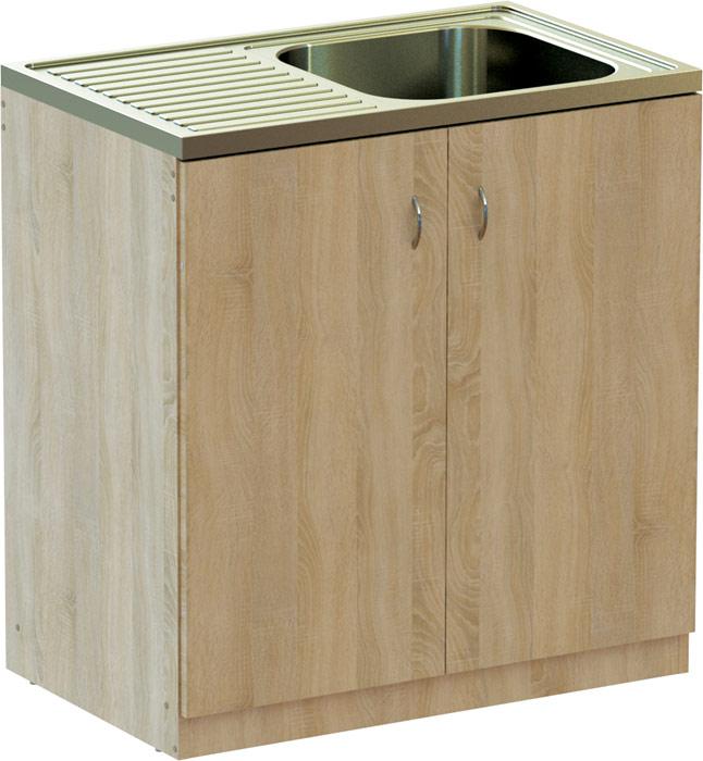 EU Kuchyňská skříňka DUB 80 cm s NEREZ dřezem