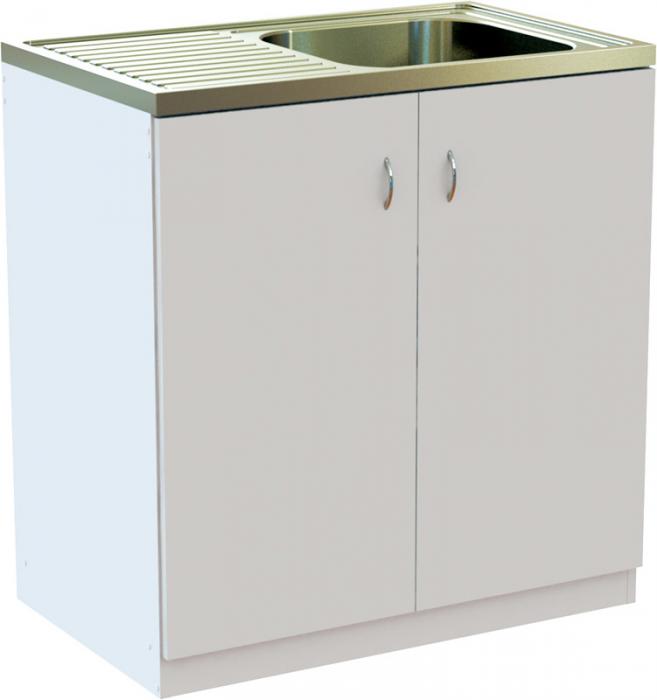 EU Kuchyňská skříňka BÍLÁ 80 cm s NEREZ dřezem