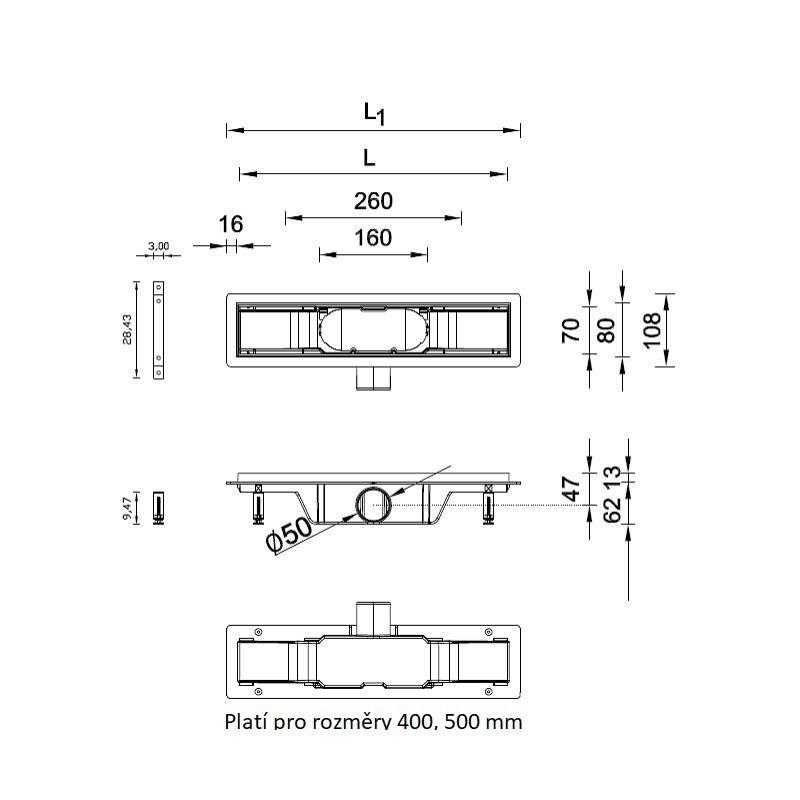OLSEN-SPA Odtokový žlab STANDARDline Velikost: 690 mm