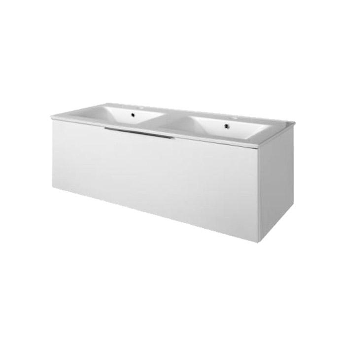 A-interiéry Domino 120 Koupelnová skříňka závěsná, zásuvková s keramickým dvojumyvadlem