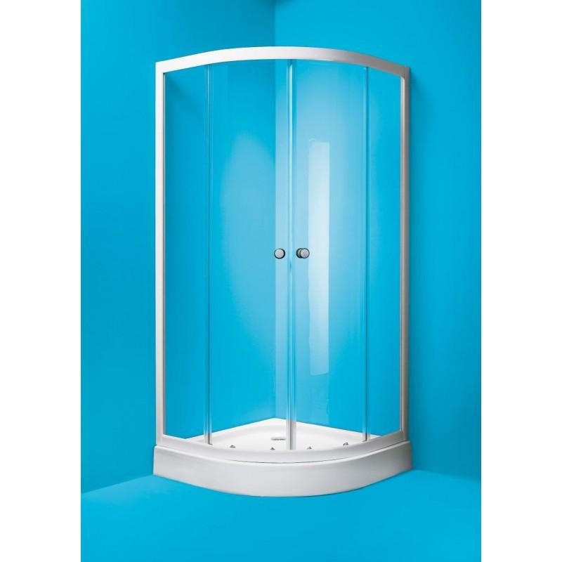 OLSEN-SPA Čtvrtkruhový sprchový kout Madrid 90 x 90 cm, bílý rám Dodáváno: Bez vaničky