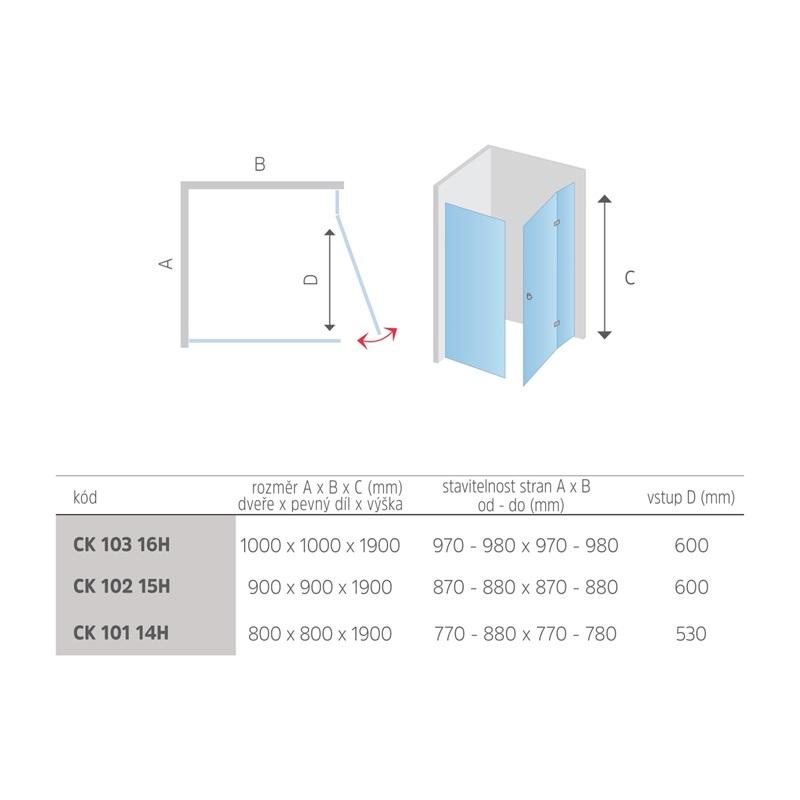 Mereo Sprchový kout, Fantasy Exclusive, čtverec jednokřídlý, 80 cm, chrom. profily, sklo Čiré