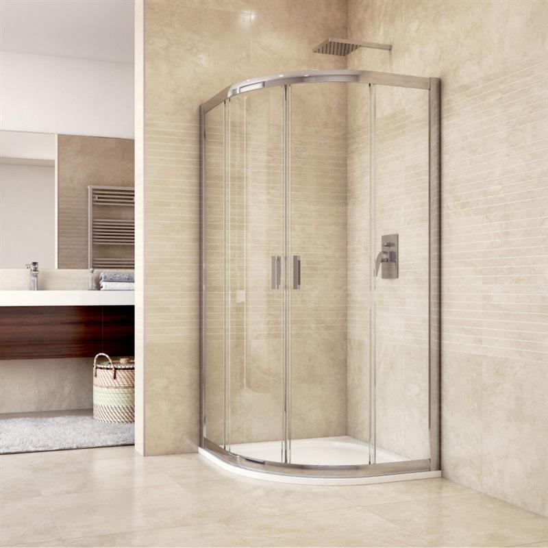 MSO Trade a.s. Sprchový set: sprchový kout, čtvrtkruh, 90x185 cm, R550, chrom ALU, sklo Čiré, litá vanička (CK35123HM)