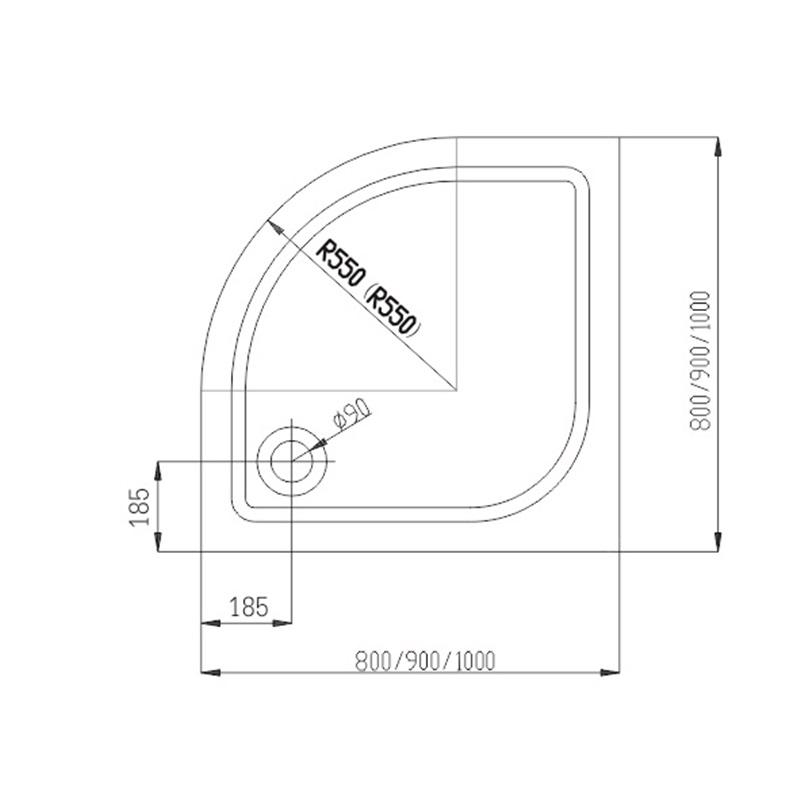 MSO Trade Sprchový set: kout čtvrtkruh, 90x90x185 cm, R550, bílý ALU, Chinchilla, vanička litý mramor