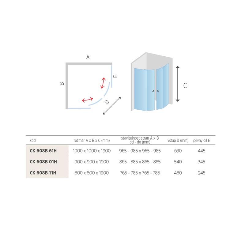 Mereo Sprchový kout, Mistica, čtvrtkruh, 90 cm, R550, bílý ALU, sklo Grape