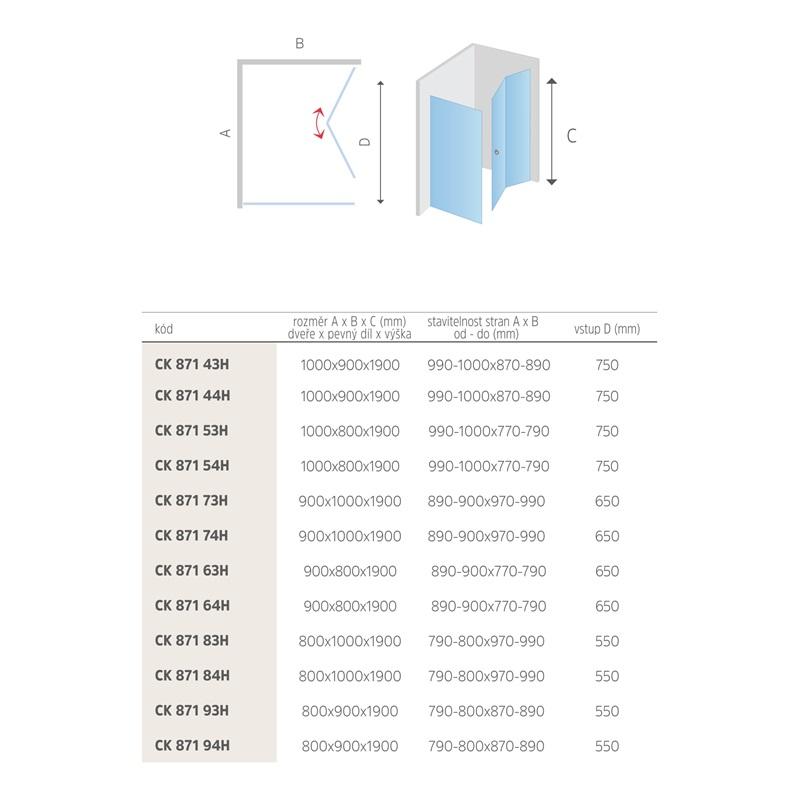 Mereo Sprchový kout, Mistica Exclusive, obdélník, 90x80 cm, chrom. profily, sklo 6 mm, zalamovací dveře Výplň: čiré