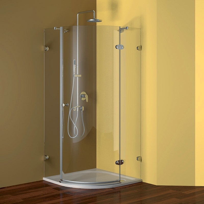 MSO Trade a.s. Sprchový set: čtvrtkruhový kout 90 cm, pravé otevírání, chrom ALU, sklo Čiré + litá vanička a sifon