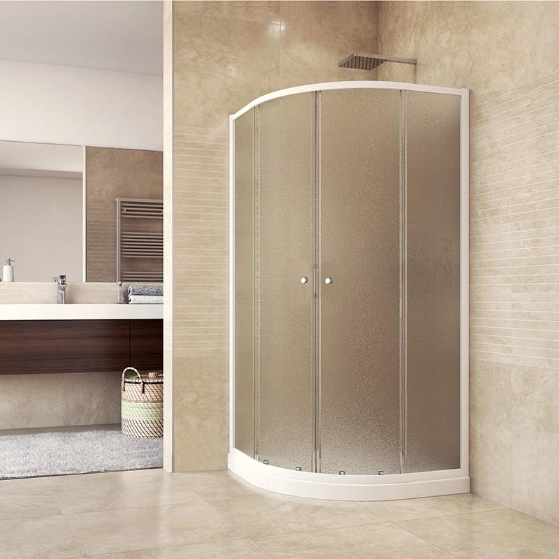 MSO Trade a.s. Sprchový set: sprchový kout, čtvrtkruh, 90x185 cm, R550, bílý ALU, sklo Chinchilla, vanička SMC