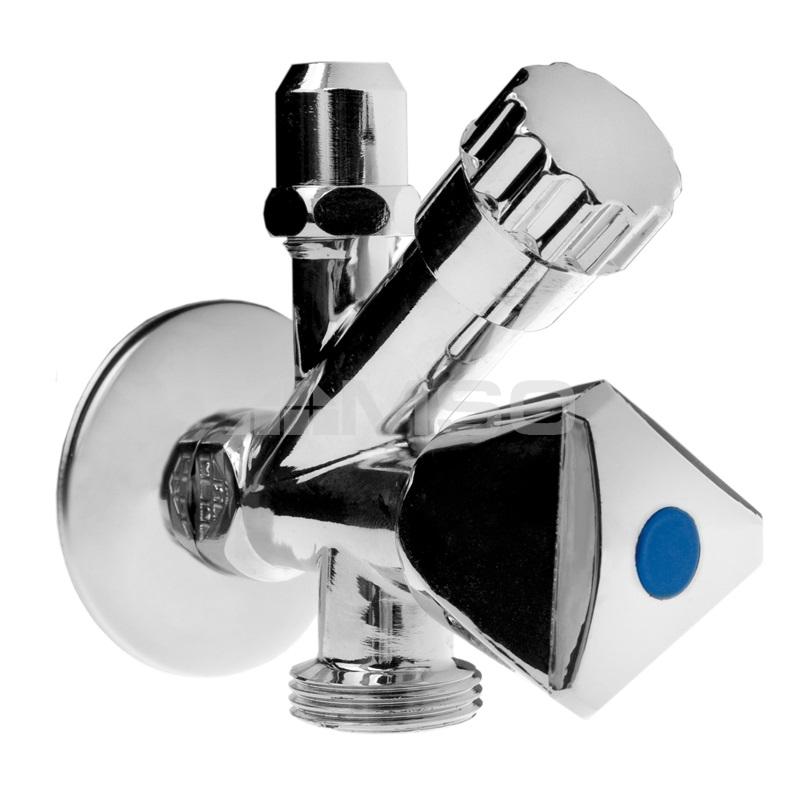 """KLUM Ventil rohový pro pračku a WC se zpětnou klapkou a růžicí, pochrom. mosaz, 1/2""""x3/8""""x3/4"""""""