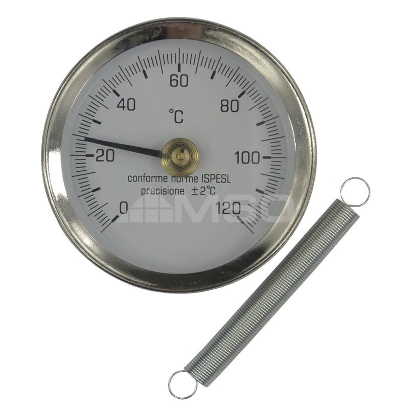 KLUM Bimetalový teploměr příložný DN 63, 0 - 120 °C