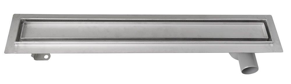 Aqualine Nerezový odtokový žlab s roštem pro dlažbu, vč. sifonu, 760x140 mm (2710-80)