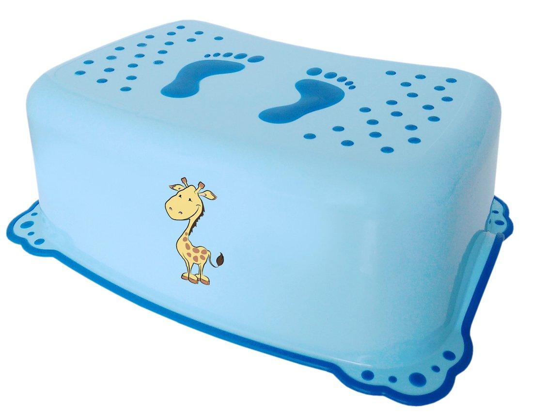 AQUALINE Dětské protiskluzové stupátko do koupelny Žirafa, modrá