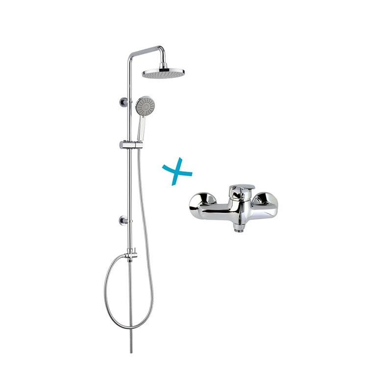 Mereo Sprchová souprava Sonáta, plastová hlavová sprcha a jednopolohová ruční sprcha včetně baterie Sonáta 150 nebo 100 mm Velikost: 100 mm