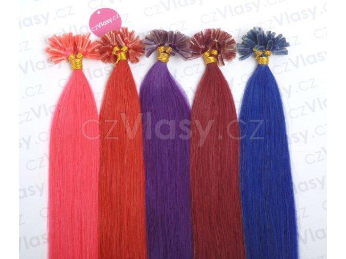 Asijské vlasy na metodu keratin - barevné prameny po 10 ks, 45 cm