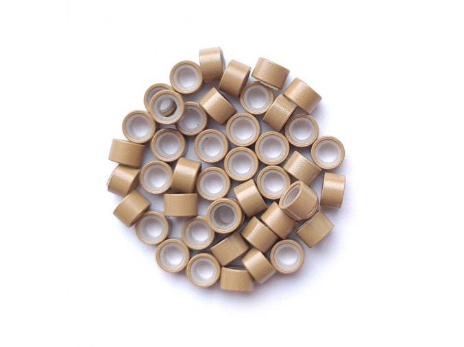 Kroužky micro ring se silikonem - tmavá blond