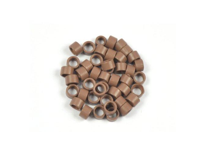 Kroužky micro ring 4,5 mm bez silikonu - světle hnědé