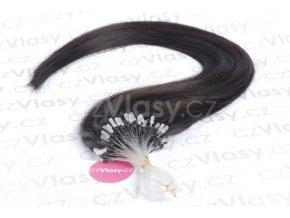 Asijské vlasy na metodu micro-ring odstín 1B po 20 ks