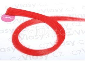 Clip in barevný pramínek 60 cm - červený
