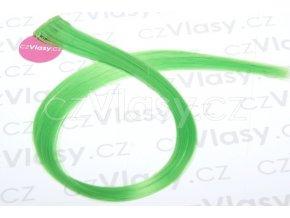 Clip in barevný pramínek 60 cm - zelený