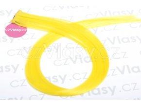 Clip in barevný pramínek 60 cm - žlutý