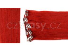 Clip in vlasy odstín červená