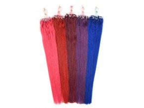 Asijské vlasy na metodu micro ring 45 cm - barevné prameny po 10 ks