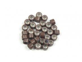 Kroužky micro ring se silikonem - hnědé