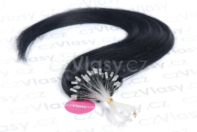 Asijské vlasy na metodu micro-ring odstín 1 Délka: 56 cm, Hmotnost: 0,5 g/pramínek, REMY kvalita