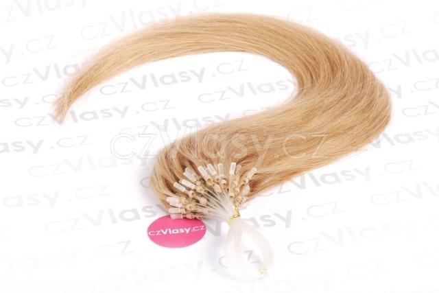 Asijské vlasy na metodu micro-ring odstín 27 Délka: 46 cm, Hmotnost: 0,5 g/pramínek, REMY kvalita