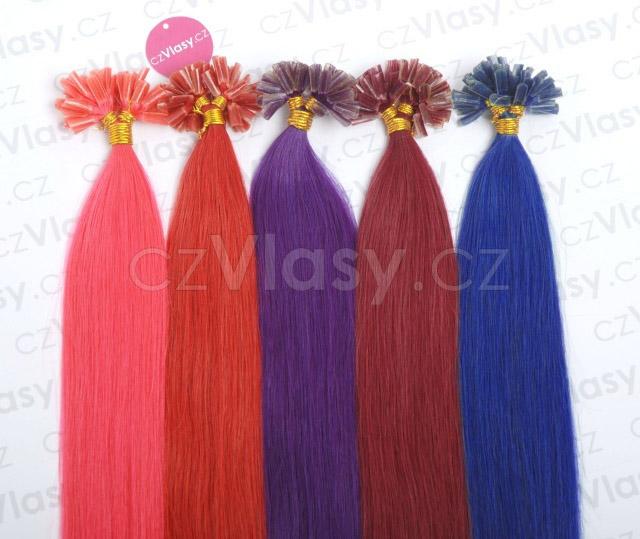 Asijské vlasy na metodu keratin - barevné prameny po 10 ks, 45 cm Odstín: 05 modrá