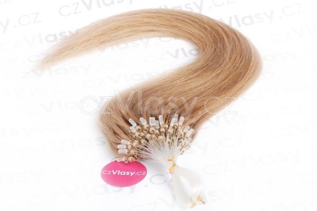 Asijské vlasy na metodu micro-ring odstín 16 po 20 ks Délka: 51 cm, Hmotnost: 0,5 g/pramínek, REMY kvalita