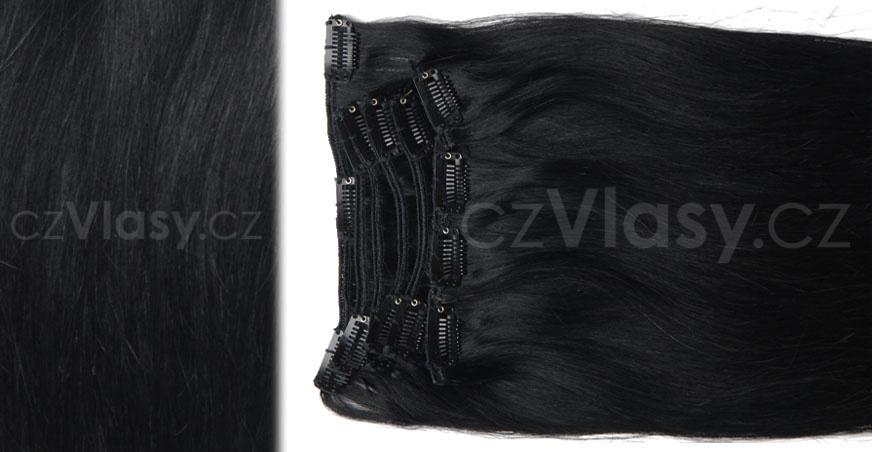 Clip in vlasy odstín 1 Sada: Objemnější - délka 60 cm, hmotnost 210 g