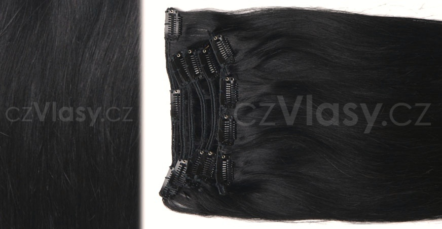 Clip in vlasy odstín 1B Sada: Objemnější - délka 60 cm, hmotnost 210 g