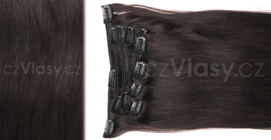 Clip in vlasy odstín 2 Sada: Objemnější - délka 60 cm, hmotnost 210 g
