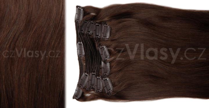 Clip in vlasy odstín 4 Sada: Objemnější - délka 60 cm, hmotnost 210 g