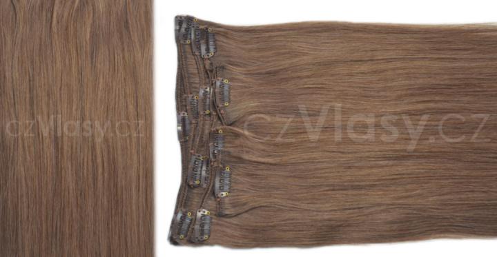 Clip in vlasy odstín 7 Sada: Objemnější - délka 60 cm, hmotnost 210 g