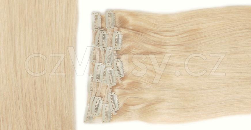 Clip in vlasy odstín 613 Sada: Základní - délka 50 cm, hmotnost 100 g