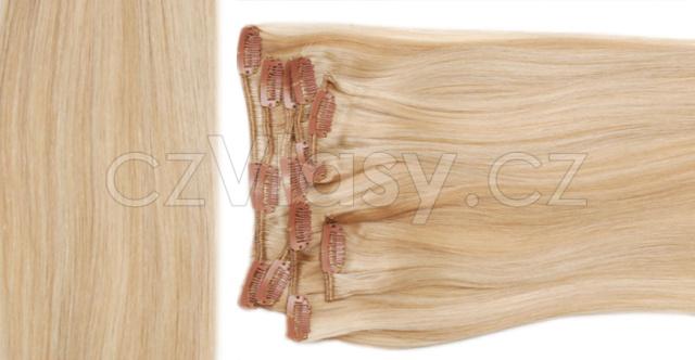 Clip in vlasy odstín 24/613 Sada: Základní - délka 38 cm, hmotnost 70 g