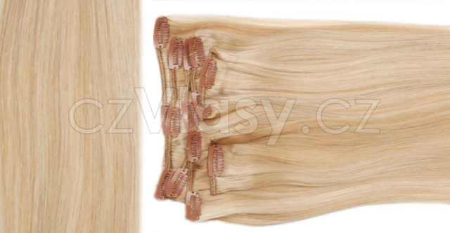 Clip in vlasy odstín 24/613 Sada: Objemnější - délka 60 cm, hmotnost 210 g
