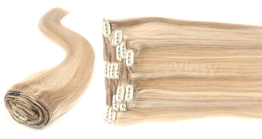 Clip in vlasy odstín 18/613 Sada: Objemnější - délka 60 cm, hmotnost 210 g