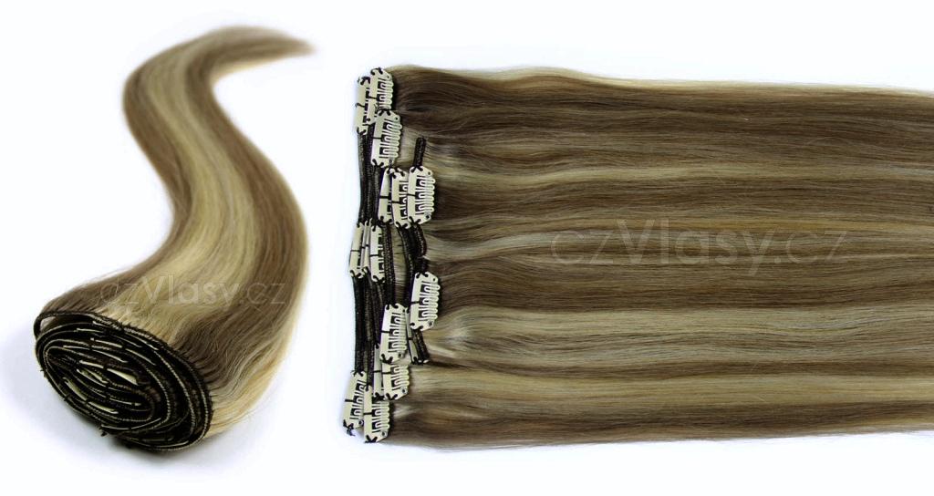 Clip in vlasy odstín 7/613 Sada: Objemnější - délka 60 cm, hmotnost 210 g