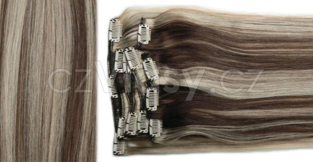 Clip in vlasy odstín 4/613 Sada: Objemnější - délka 60 cm, hmotnost 210 g