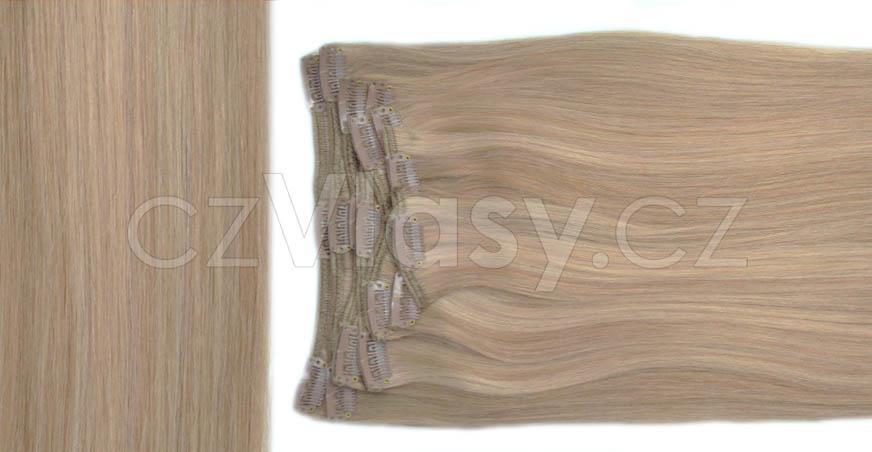Clip in vlasy odstín 10/16 Sada: Základní - délka 60 cm, hmotnost 120 g
