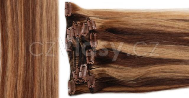Clip in vlasy odstín 4/27 Sada: Základní - délka 38 cm, hmotnost 70 g