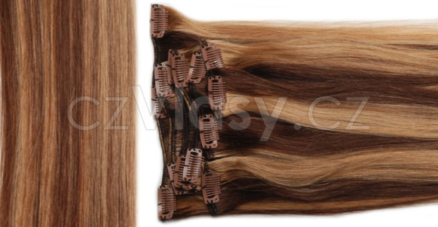 Clip in vlasy odstín 4/27 Sada: Základní - délka 40 cm, hmotnost 85 g