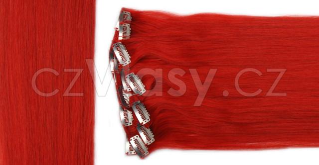 Clip in vlasy odstín červená Sada: Základní - délka 50 cm, hmotnost 100 g