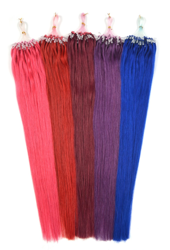Asijské vlasy na metodu micro ring 45 cm - barevné prameny po 10 ks Odstín: růžová